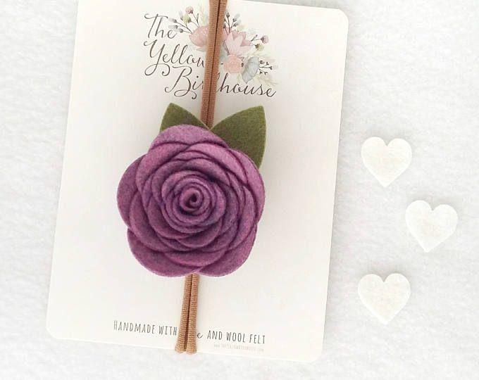 Newborn Headband - Purple Felt Flower