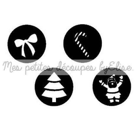 Découpes papier pour le scrapbooking - NOEL - Lot de 4 cercles Motifs Noël