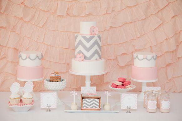 Pink & Gray Chevron Bridal Shower :: Aussie Party Challenge