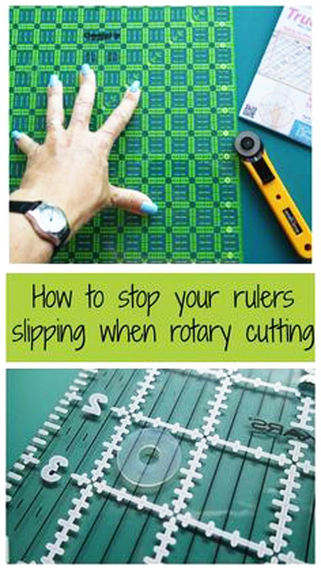 Sewing Hacks | Best Tips and Tricks for Sewing Patterns, Projects, Machines, Hand Sewn Items. Clever Ideas for Beginners and Even Experts | TrueGrips Non-slip pads for rulers | http://diyjoy.com/sewing-hacks