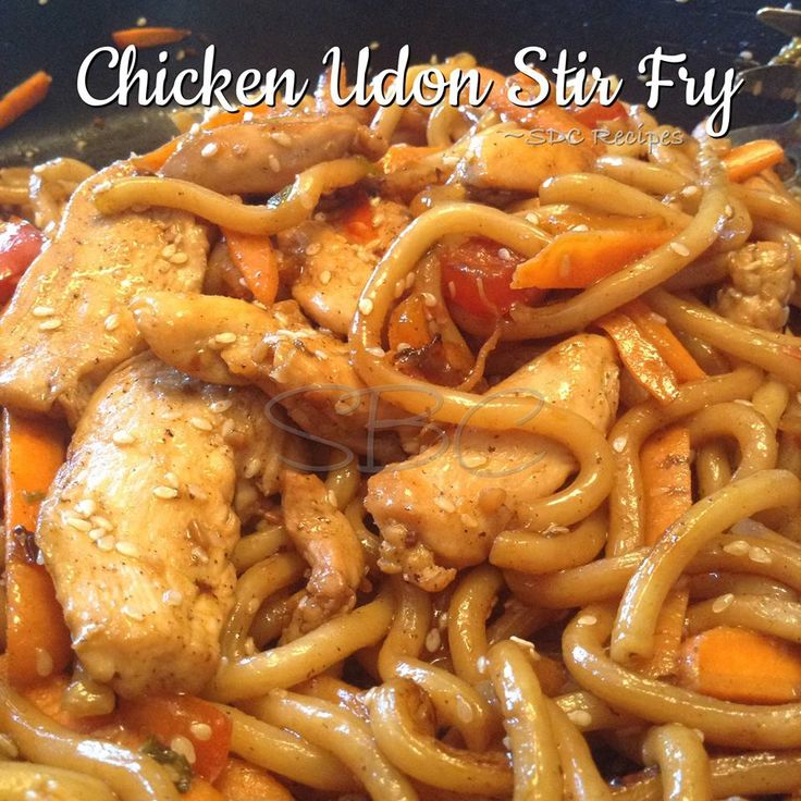 Chicken Udon Stir Fry Makes 4 Servings Ingredients: 2 chicken breasts, skinned, boned and cut into bite-sized pieces 1 Tablespoon extra virgin olive oil 1 1/2 teaspoons black pepper 1 teaspoon sea ...