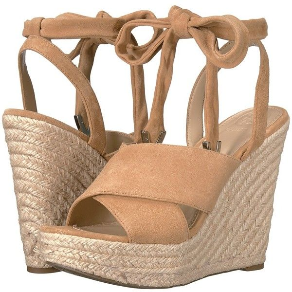GUESS Oshira (Tan) Women's Shoes (87 CAD) ❤ liked on Polyvore featuring shoes, sandals, tan wedge sandals, wide width sandals, ankle tie sandals, platform wedge sandals and tan platform sandals