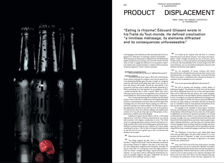 Emeka Ogboh Barbara Casavecchia Product Displacement  Mousse 58 Learning from Athens. An issue about documenta 14