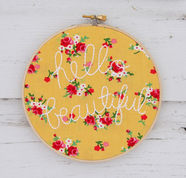 This embroidery hoop wall art from Thimble and Thistle would make such a great addition to a nursery gallery wall! #nursery #wallart: Holidays Fabrics, Hello Beautiful, Embroideryhoopartjpg 15001439, Embroidery Hoop Art, Crosses Stitches, Baby Rooms, Embroidery Hoop Wall Art, Beautiful Embroidery, Embroidery Hoops