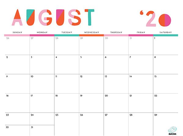 2020 Colorful Printable Calendar For Moms Printable Calendar