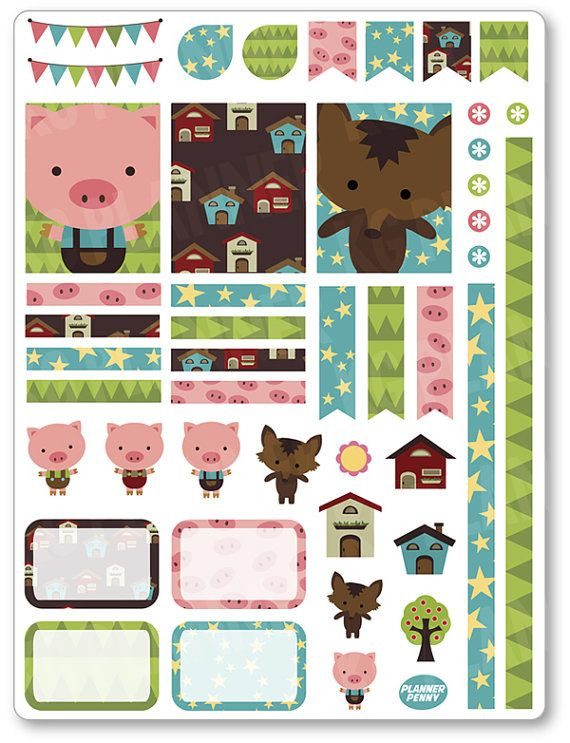 Little Pigs Decorating Kit / Weekly Spread Planner by PlannerPenny