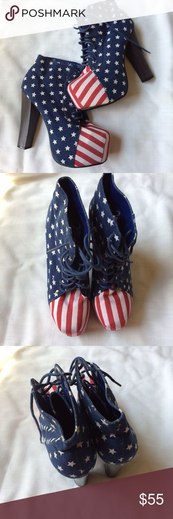 """American Flag High Heels Lace-Up Sz 8 Patriotic Very good condition. Heel height 5.5."""" Shoes Lace Up Boots"""