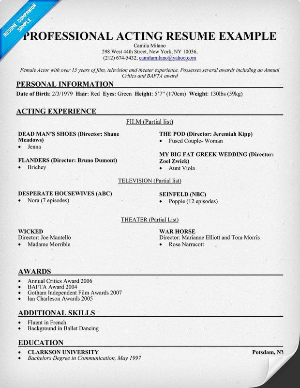 professional acting resume example resumecompanioncom. Resume Example. Resume CV Cover Letter