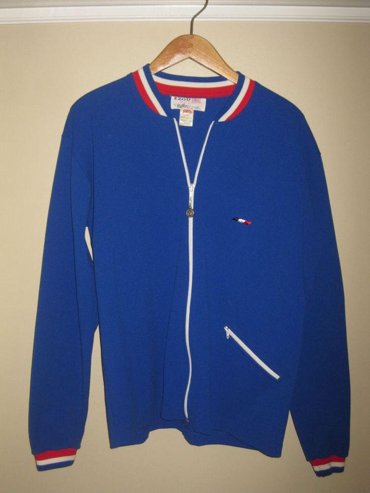 Vintage Warm Up Jacket Odlo Of Norway 1960s Large Izod Tennis Prep Blue Athletic #vintage #tennis
