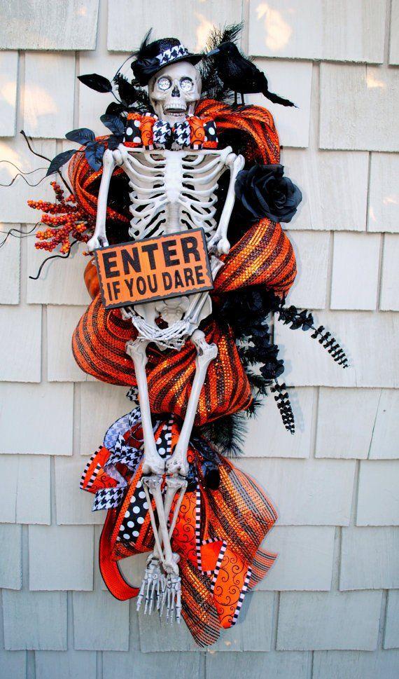 Halloween Handmade holiday wreath Halloween wreath Halloween party Skeleton wreath Enter if you Dare  front door skeleton wreath
