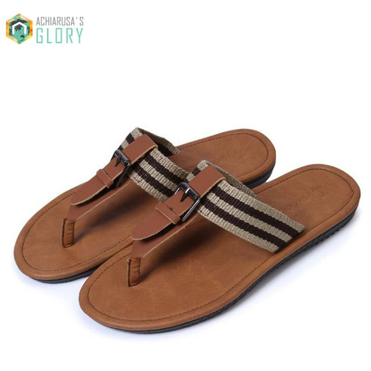2016 Summer slides Man Flip Flops beach PU leather leisure Flat Sandals  MSLDS 710 on Aliexpress