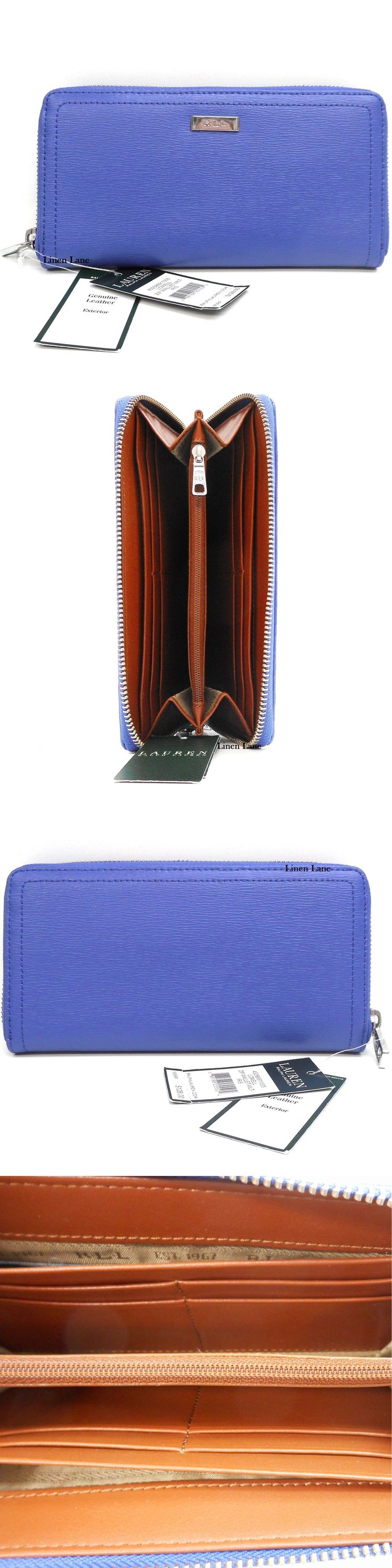 Other Womens Golf Clothing 181152: Ralph Lauren Lowell Blue Iris Leather Zip Around Wallet Silver New $128 Spring -> BUY IT NOW ONLY: $58 on eBay!