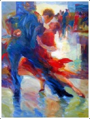 Ballroom dance painting  Tango Buenos Aires by Gloria Coker http://babybirdguide.com/buenosaires