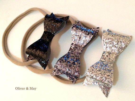 Glitter Bow Headbands You Pick Black Gunmetal Dark by OliverAndMay