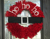 Custom Listing for MORGAN Santa Ho Ho Ho Wreath. $60.00, via Etsy.