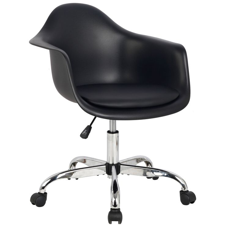 This stylish and heavy duty chair will add a bold touch to your office. The molded matte black plastic seat has a pad for extra comfort. The stylish chrome five point base sports wheels for easy mobility.