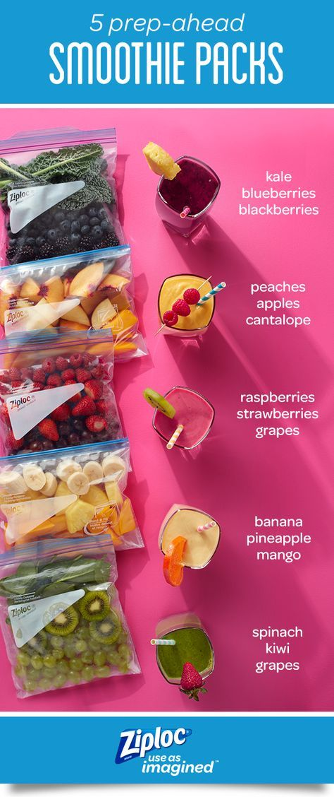 These 5 simple smoothie recipes can be prepped ahead for easy breakfasts and snacks. Store fruits and vegetables in Ziploc® freezer bags to block out air and lock in freshness for fast smoothies when you're short on time. For healthy smoothie packs, mix colorful ingredients like strawberries, raspberries, yogurt, juice, peaches, grapes, pineapple, mango, kiwi, spinach, blueberries, blackberries and kale. Or get creative and make your own DIY freezer smoothie kit recipes.
