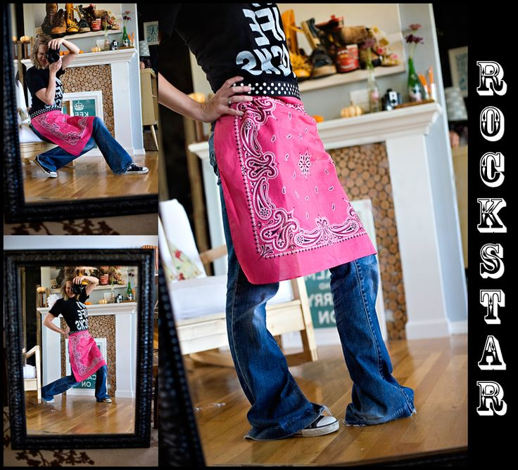DIY {bandana apron} (no sewing required unless you want to add pockets.)  Going to fold this in half, sew a hem all the way around, and fashion some pockets for the front!!! My sissy made me one for Christmas!!!