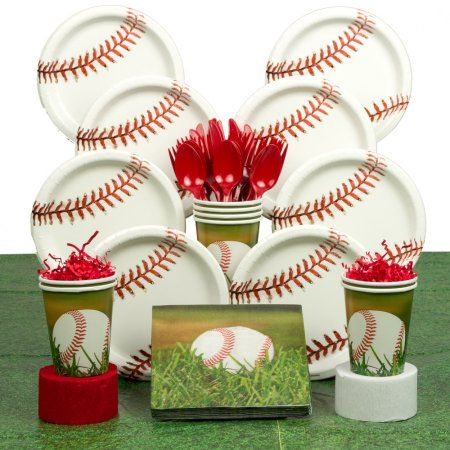 Baseball Party Deluxe Kit Serves 8 Guests - Party Supplies - Walmart.com