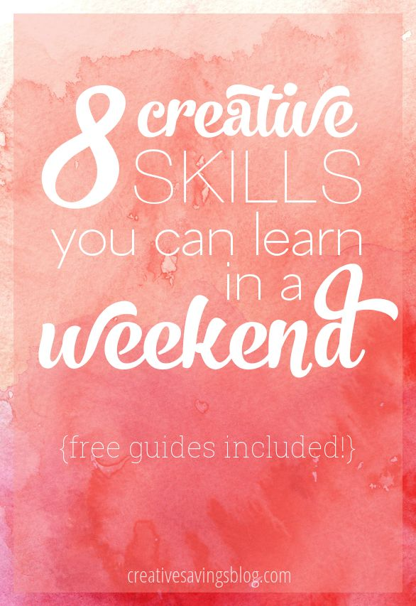 Cooped up inside with absolutely nothing to do? Tackle one of these new skills over the weekend and rediscover those creative roots. Includes 8 free downloadable guides to get you started, from cake decorating basics to stunning watercolor designs!