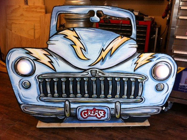 a car shape cutout - we painted for a stage prop (grease lightning)