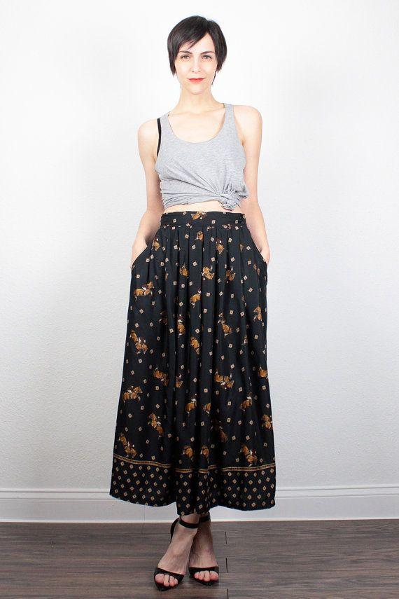 Vintage 80s Skirt Midi Skirt HORSE Equestrian Print