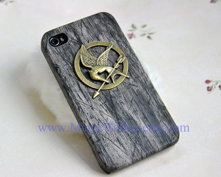The hunger games Mockingjay Iphone case, Black Wood Iphone 4 case, Iphone 4S case, Hard Plastic Iphone CASE. $10.99, via Etsy.