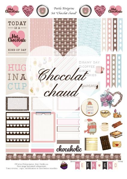 Stickers à imprimer pour Happy Planner ✯ Chocolat chaud {free printable}