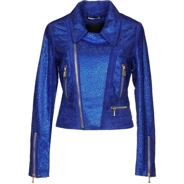 Philipp Plein Jacket ($2,725) ❤ liked on Polyvore featuring outerwear, jackets, bright blue, blue biker jacket, philipp plein jacket, zip jacket, biker style jacket and animal jackets