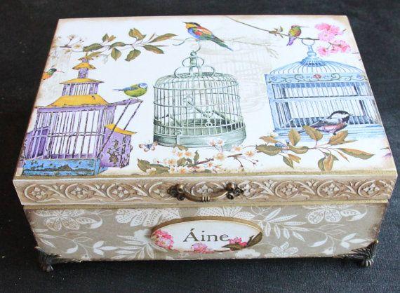 Wooden personalized keepsake box decoupage box jewelry by Diumont
