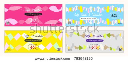 Cheerful and colorful gift certificate, voucher, gift card or cash coupon template in vector format