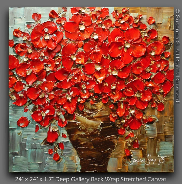 ORIGINAL Contemporary Textured Painting Red Flowers Oil ...