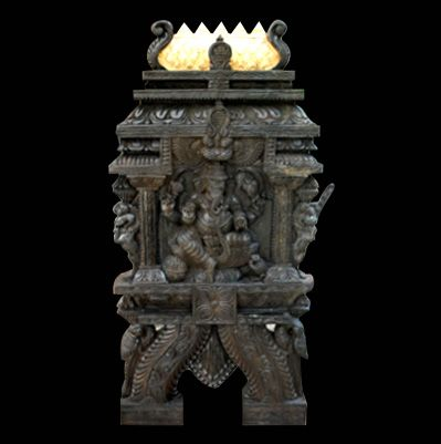 GANESHA IN TEMPLE WOOD KAVADI (WALL PANEL)  The kavadi itself is steeped in mythology. Many thousands of years ago, At Mount Kailas, Lord shiva entrusted the dwarf saint sage Agastya with two hillocks, with instructions to carry and install them in South India.