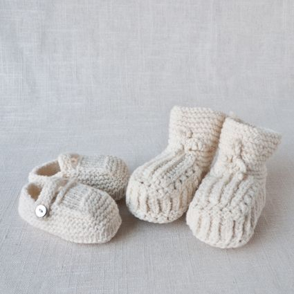 Fog Linen Wool Baby Booties, $33.00 a pair