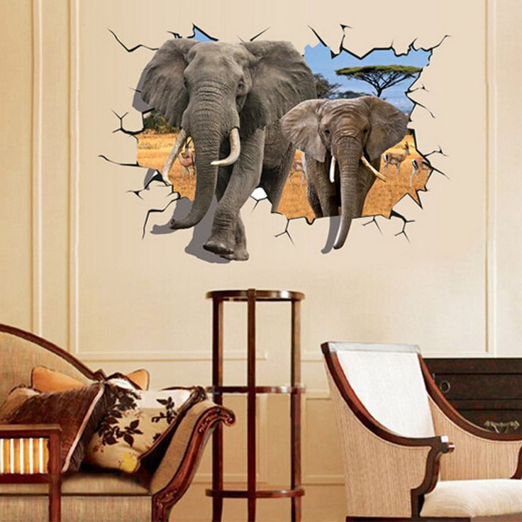 3D Elephants Wall Sticker //Price: $15.99 & FREE Shipping //     #DIY