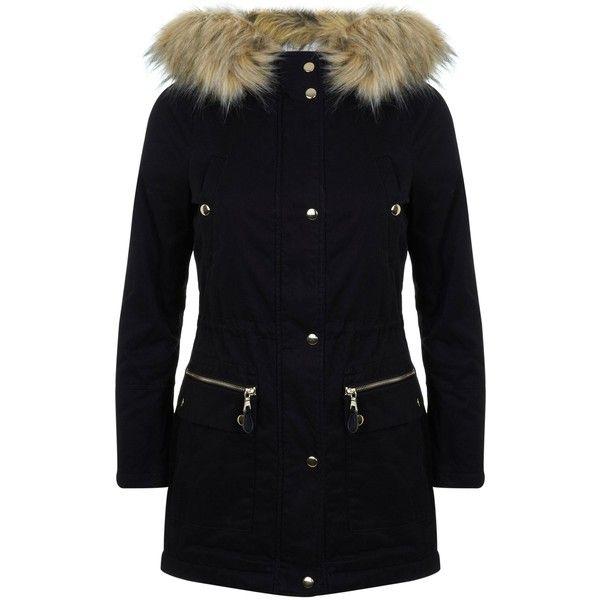 Petites khaki luxe parka coat