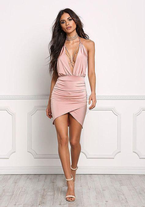 e95d7df882 Blush Low Cut X Strap Halter Dress - Valentine s Day - Trends