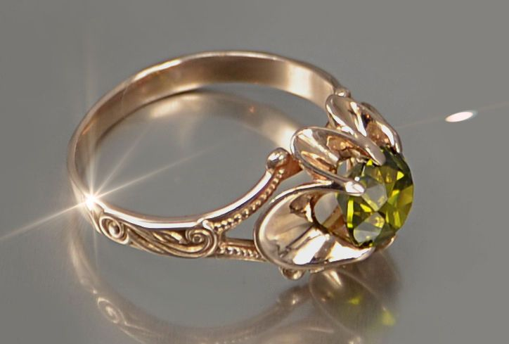 vr377 Org. Russian rose Vintage Soviet gold HANDCRAFT Tourmaline Ring UNIQUE!