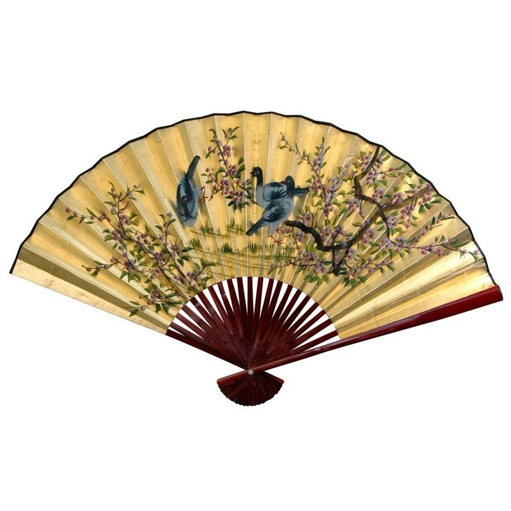 Oriental Furniture Gold Leaf Birds And Flowers Fan Wall Décor Size