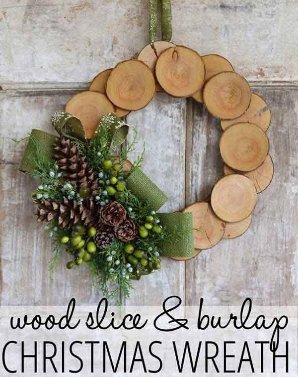 Wreath Türkranz Holzscheiben
