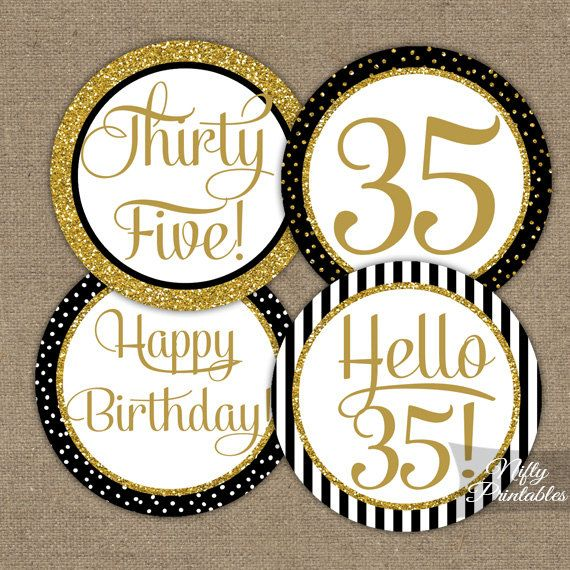 35th Birthday Cupcake Toppers Black & Gold 35 by NiftyPrintables