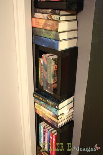 I love this idea to bring some of our many piles of books under control! And how geeky is it that I'm pinning a project that was inspired by a project the blogger found on Pinterest? Oh yeah.