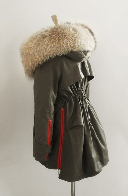 Parka Jacket with Red Zipper Detail