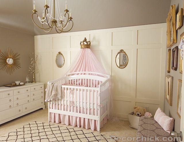 Pink, Grey, and Gold Vintage Nursery Makeover