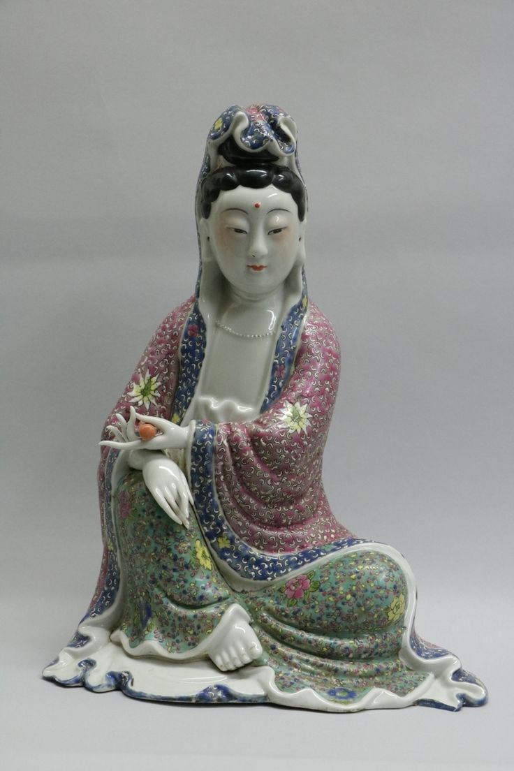 Lot 279 S108 - Chinese Famille Rose Porcelain Guanyin w/ Mark - Est. $1500-2500