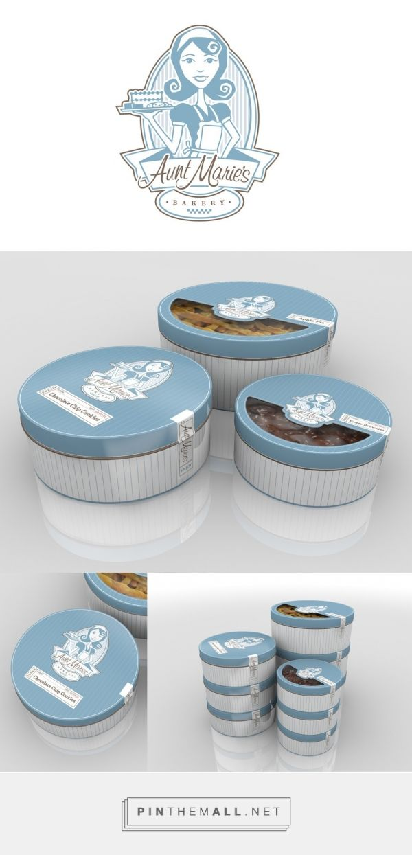 Aunt Marie's Bakery Branding via Eli Clark Design. Identity and packaging system. All packaged food items from pies, cookies, brownies and desserts are packaged in round containers. A unique, high quality package that is reflective of the product inside.
