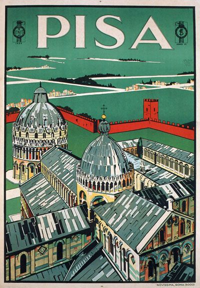TV55 Vintage 1928 A4 Pisa Tuscany Italy Italian Travel Tourism Poster Re-Print