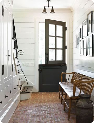 I would love to have a house old enough that it had original brick flooring in the entry.: The Doors, Mudroom, Back Doors, Black Doors, By Dutch, Dutch Doors, Mud Rooms, Front Doors, Under Stairs