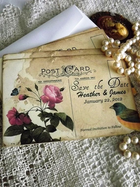 Handmade Vintage Postcard Save the Date