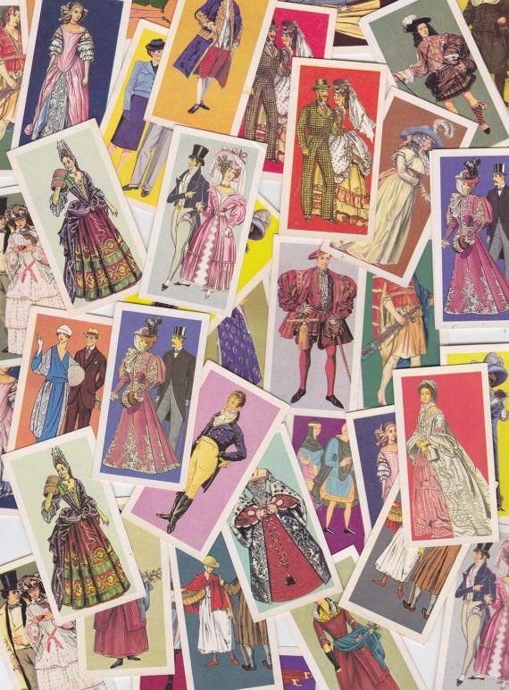 15 x Sweet Vintage Tea Cards British Costumes for Altered Arts Collage Destash Swap Cards on Etsy, $4.50 AUD